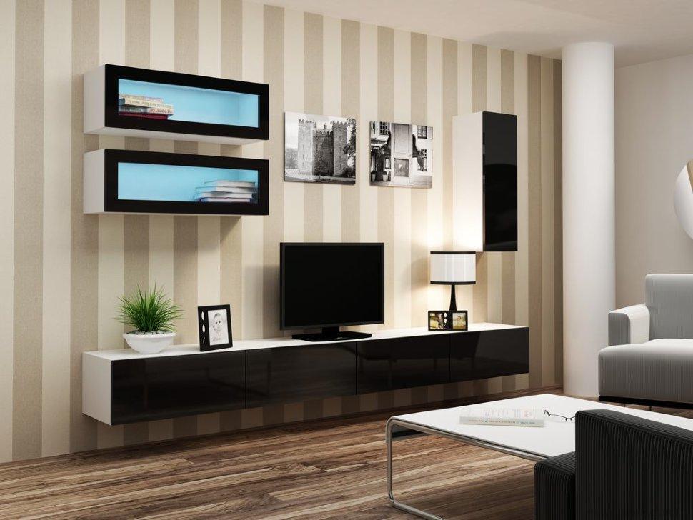 Черно белая мебель для гостиной фото
